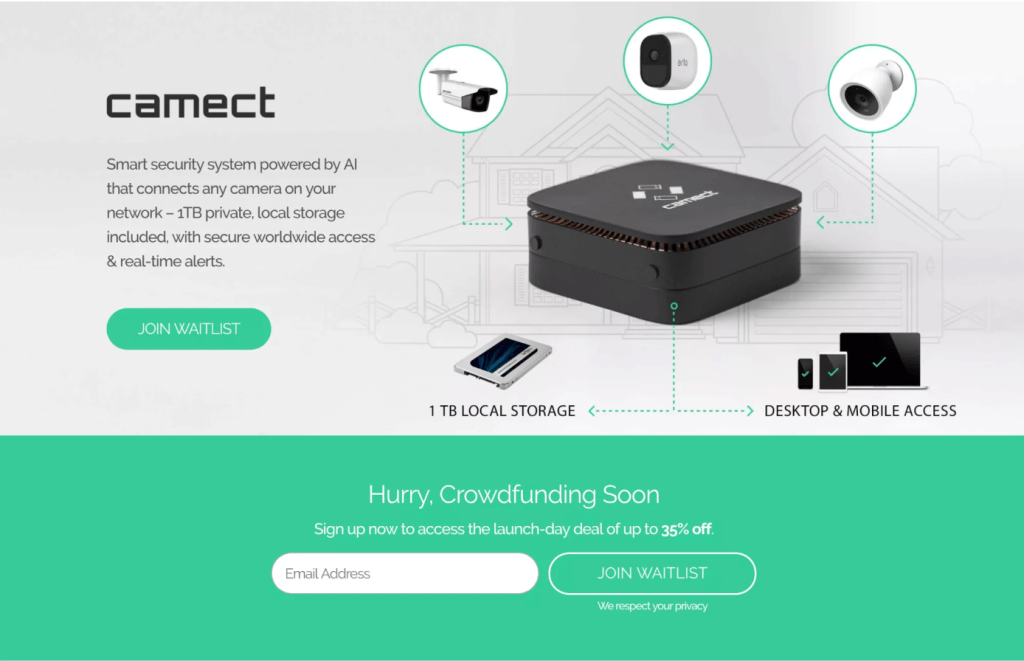 camect's landing page for crowdfunding says everything on top