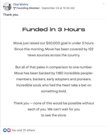 getting funded in 3 hours is incredible crowdfunding success