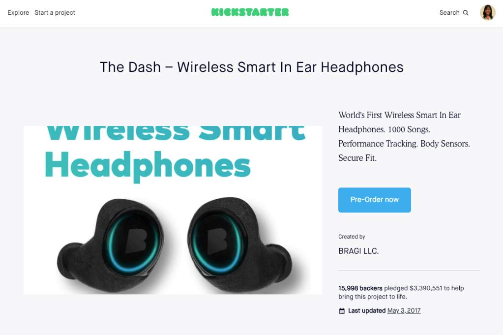 bragi is a company that started with crowdfunding