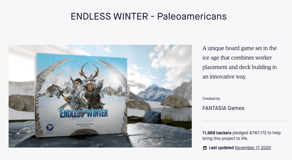 I coached endless winter on their crowdfunding campaign