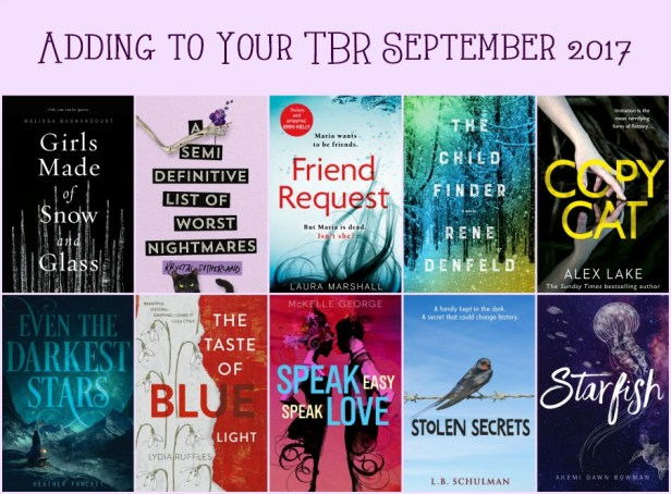 Adding to Your TBR September 2017