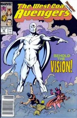 "The cover of West Coast Avengers #45, featuring the ""new"" Vision."
