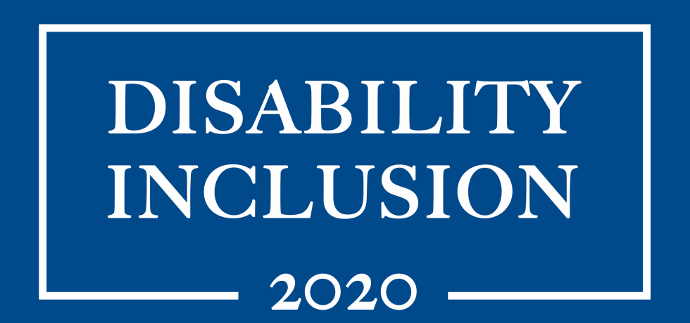 "Campaign Poster that reads ""Disability Inclusion 2020."""