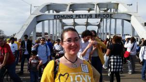 Elizabeth Mount at the Edmund Pettus Bridge in Selma, Alabama