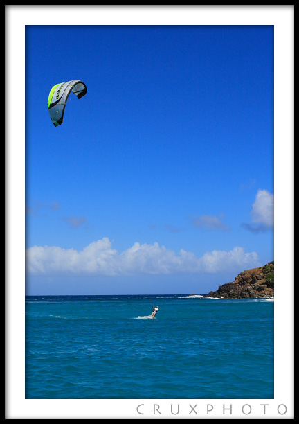 Kite Boarding in the British Virgin Islands near Sandy Spit.  Copyright Nate Young and Crux Photo.