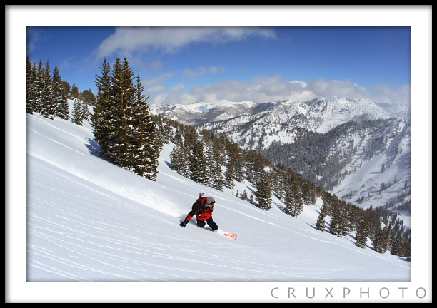 Snowboarding in Days Canyon.  Copyright Nate Young and Crux Photo.