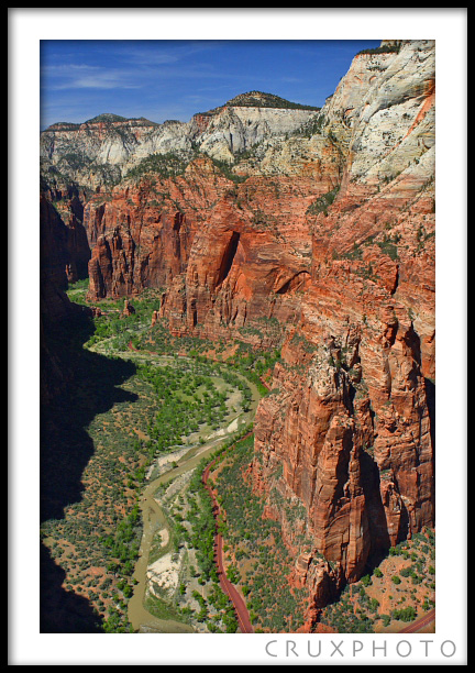 The view from the top of Angel's Landing in Zion National Park. Copyright Nate Young and Crux Photo