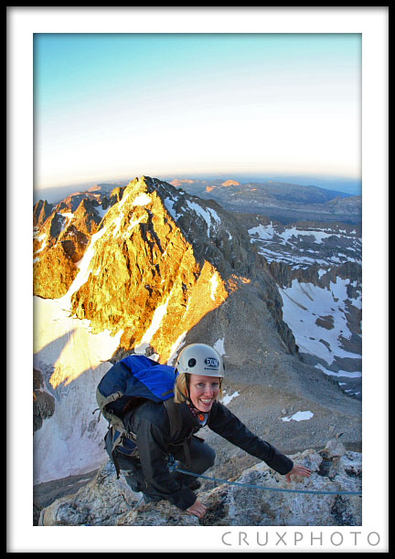 Chelsea, a cardiac rehab nurse, finishing the Golden Staircase pitch on the Exum Ridge.  Copyright Nate Young and Crux Photo.