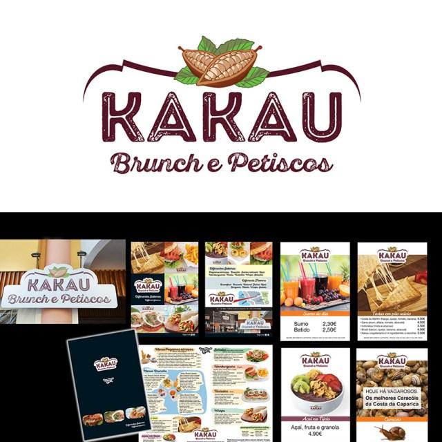 Criação Marca kakau emetas cartazes