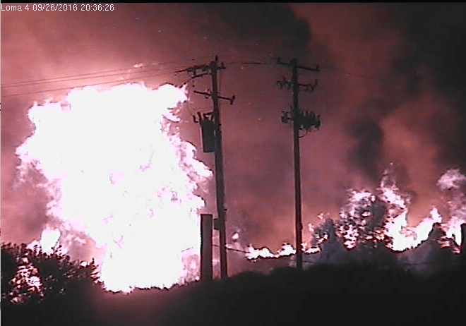 Loma Fire from Cruzio's security cameras, 8:36 pm