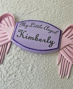 My Little Angel Wall Plaque in Violet – with Pink Angel Wings