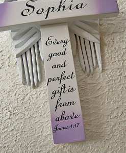 Personalized Angel of the Lord Cross in White – with Violet Wings 'Every Good and Perfect Gift is from Above' James 1:17