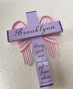 Angel of the Lord Cross in Violet and Pink Wings