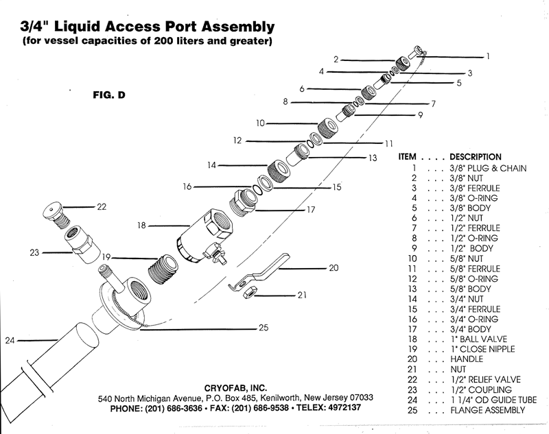 """3/4"""" access port for liquid helium container - expanded drawing"""