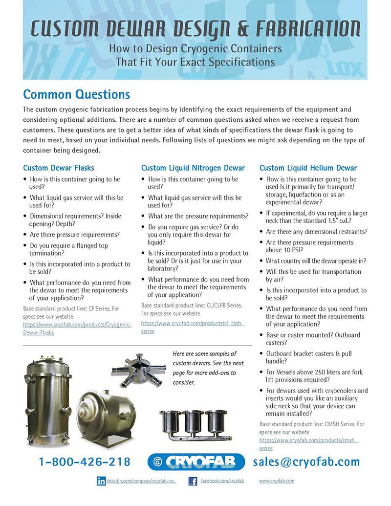 custom cryogenic design and fabrication literature