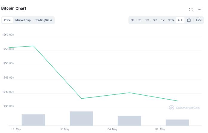 price of bitcoin after elon musk tweet -50%