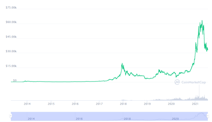 A Look at Bitcoin Price From 2009 to 2021