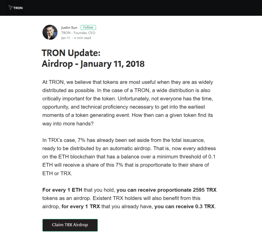 $TRX(TRON)AirDrop配布は偽サイト。TRON公式アカウントがツイート