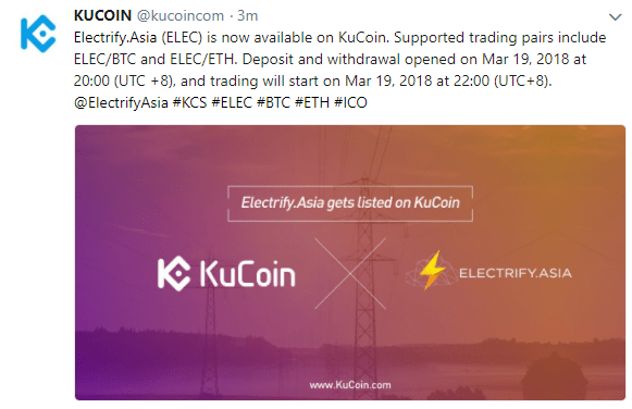 Electrify.Asia ($ELEC) がKuCoinに上場!仮想通貨取引所アルトコイン新規上場最新情報
