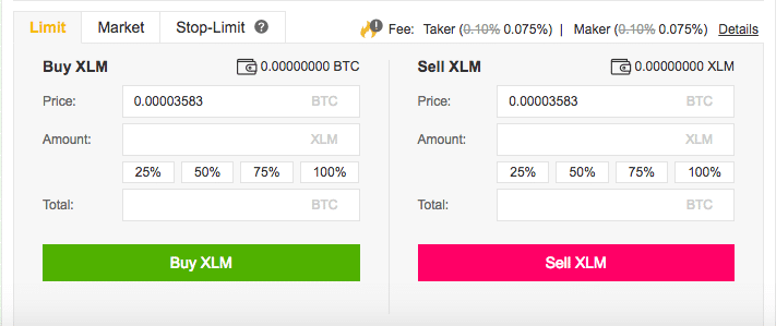 Binance Buy/Sell XLM