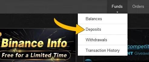 déposer des ethereums sur Binance - Funds > Deposits