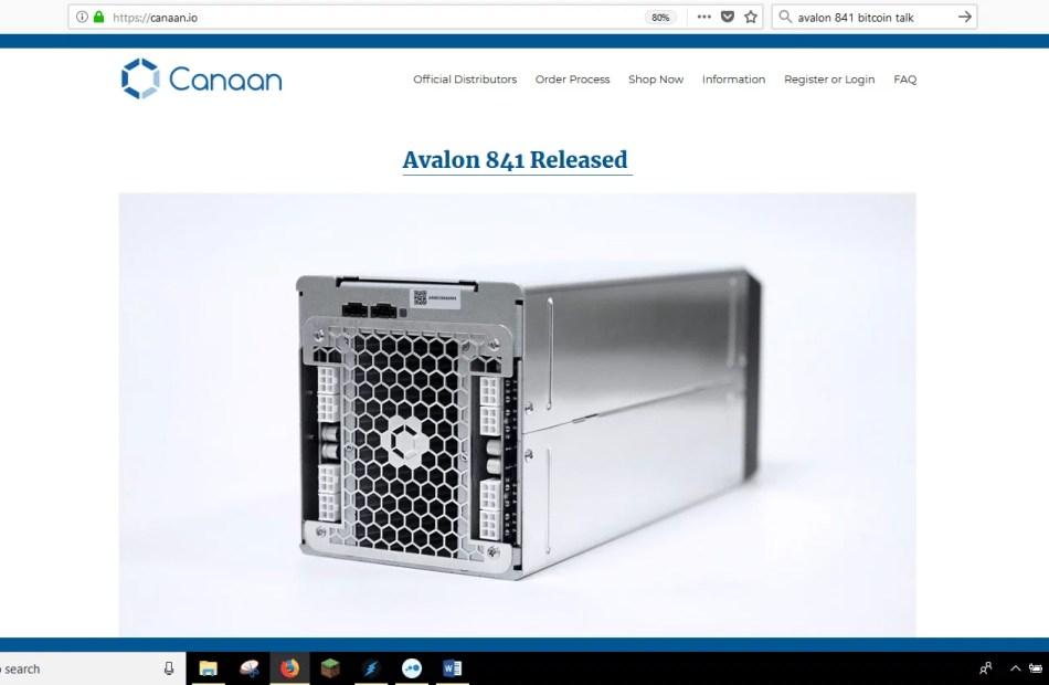 Avalon 841 Bitcoin Miners