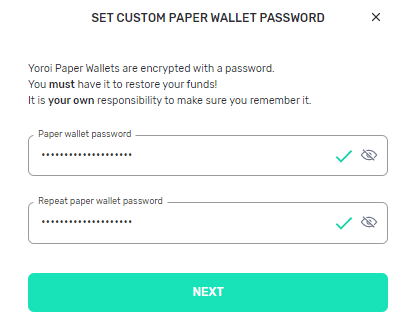 Yoroi Wallet Password