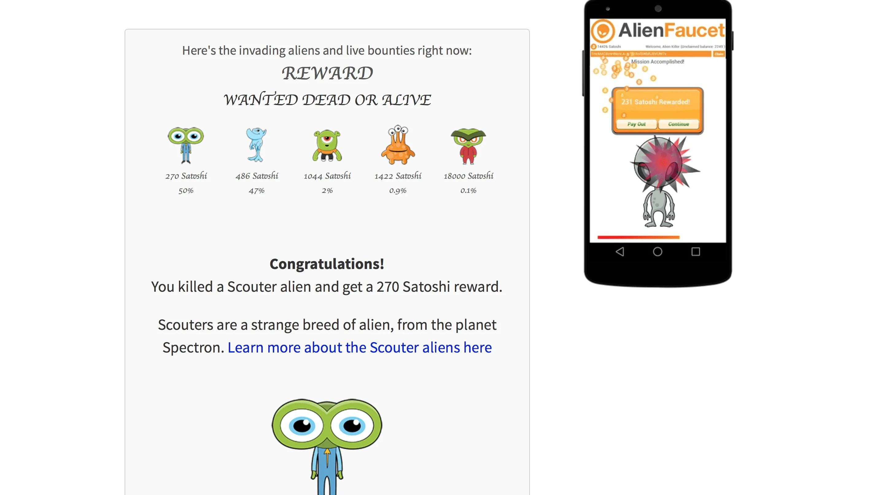 BTC Faucets: Bitcoin Aliens Review