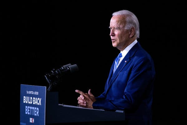 Former Vice President Joseph R. Biden Jr. delivered remarks on rebuilding the American economy at the Chase Center in Wilmington, Del., on Tuesday.