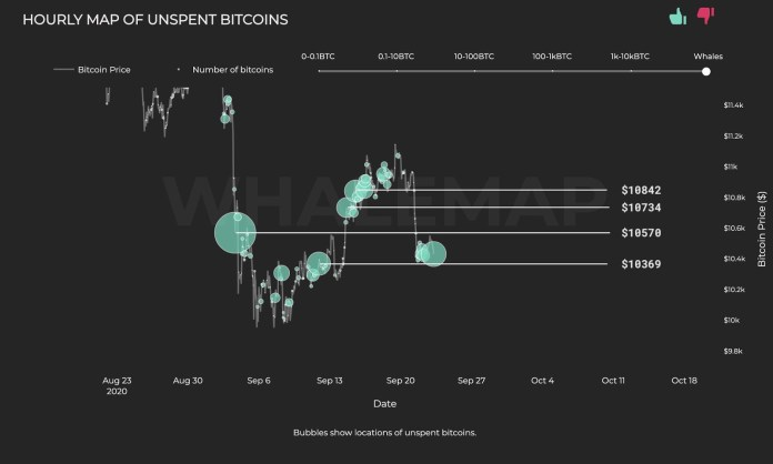 The hourly map of unspent Bitcoin from whales
