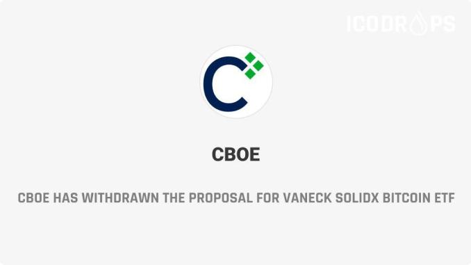 CBOE Has Withdrawn The Proposal For VanEck SolidX Bitcoin ETF