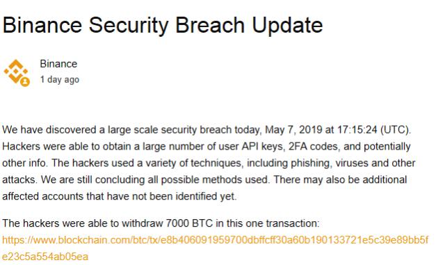 Hackers Withdrew 7K BTC From Binance's Hot Wallet