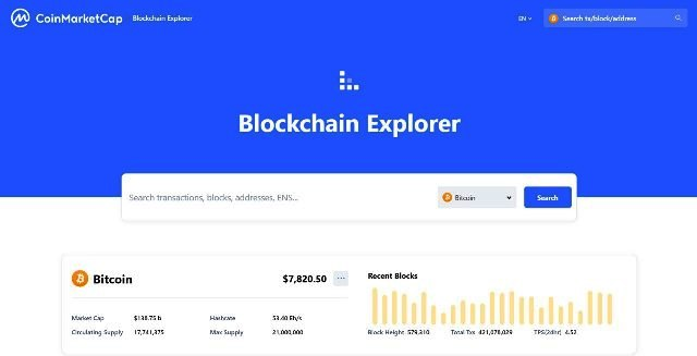 CoinMarketCap Has Launched Its Blockchain Explorer