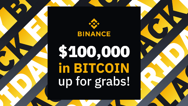 Binance Black Friday - $100,000 In Bitcoin To Be Won