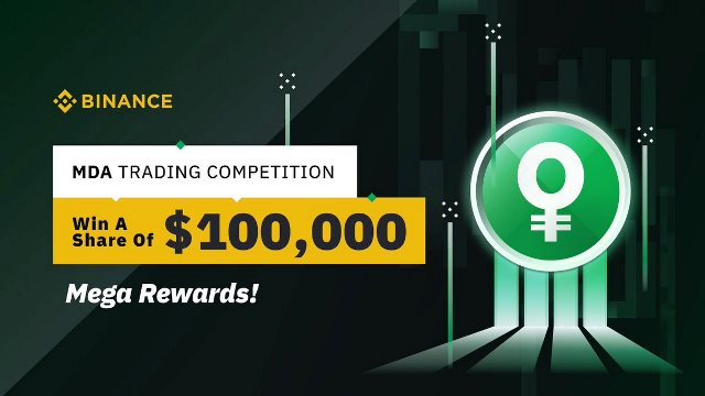 MDA Trading Competition On Binance - $100,000 In MDA Tokens To Be Won