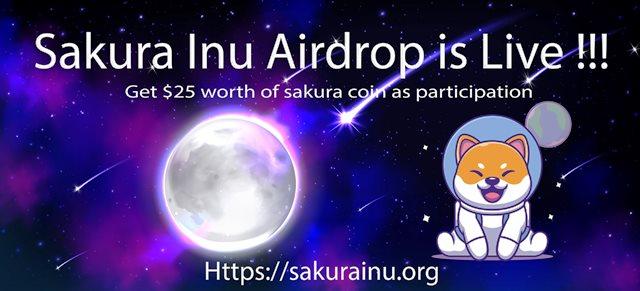 Sakura lnu Crypto Airdrop Campaign - Earn Free $25 Of Sakura Tokens