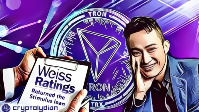 Weiss Ratings Urges Justin Sun to Return $2M Grant