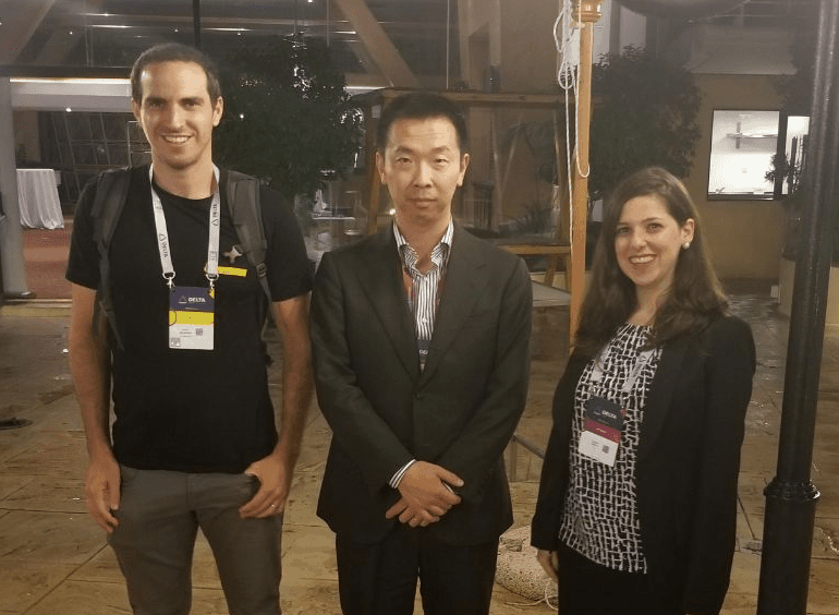 Zhao Chen together with Tamar Salant (NEO Global Business Development Manager) and Arnon Benshahar (CryptoPotato)