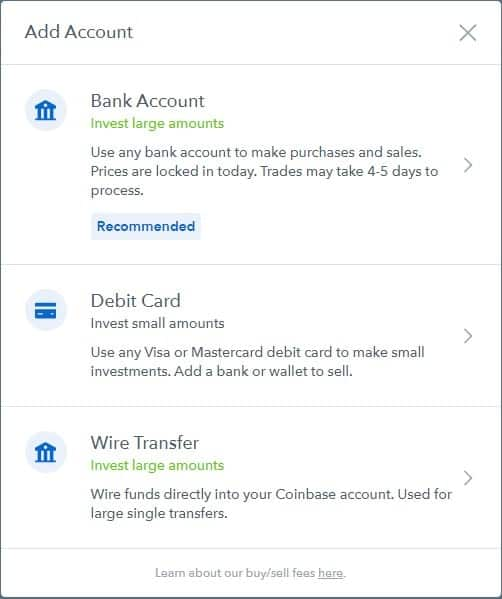 Coinbase guide, choose account type