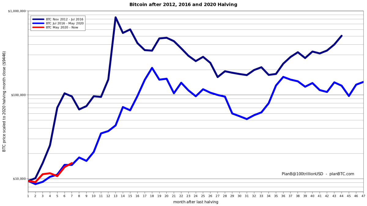 Bitcoin Price Performance Following Each Halving. Source: Twitter