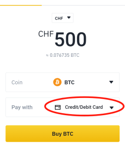 Buy BTC with credit card in Switzerland
