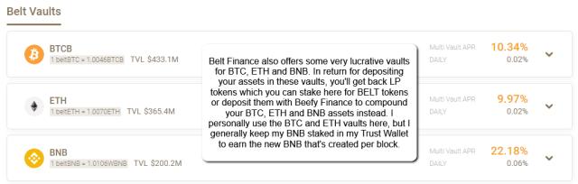 Belt Finance Vaults