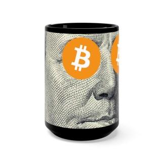 Bitcoin & Ben Franklin Design Black Mug
