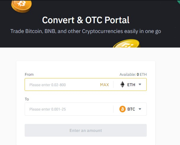 Binance convert and OTC portal