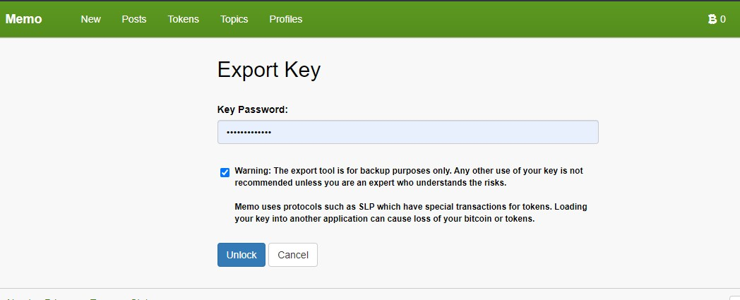 Exporting your memo.cash account key