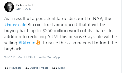 Peter Schiff Claims That Grayscale Will Sell BTC to Fund Digital Currency Group's Acquistion of GBTC Shares Rebuffed