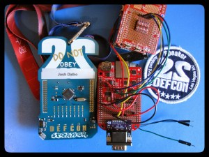 CHUCKWAGON hardware implant consisting of BeagleBone Black, CryptoCape, GSM Shield, and CHUCKWAGON Adapter. Shown here with DC22 Speaker badge and patch.