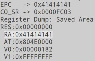 Значения регистров после переполнения буфера в WRT120N