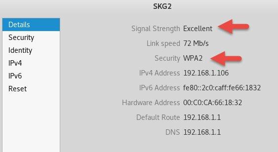 Свойства беспроводной сети SKG2