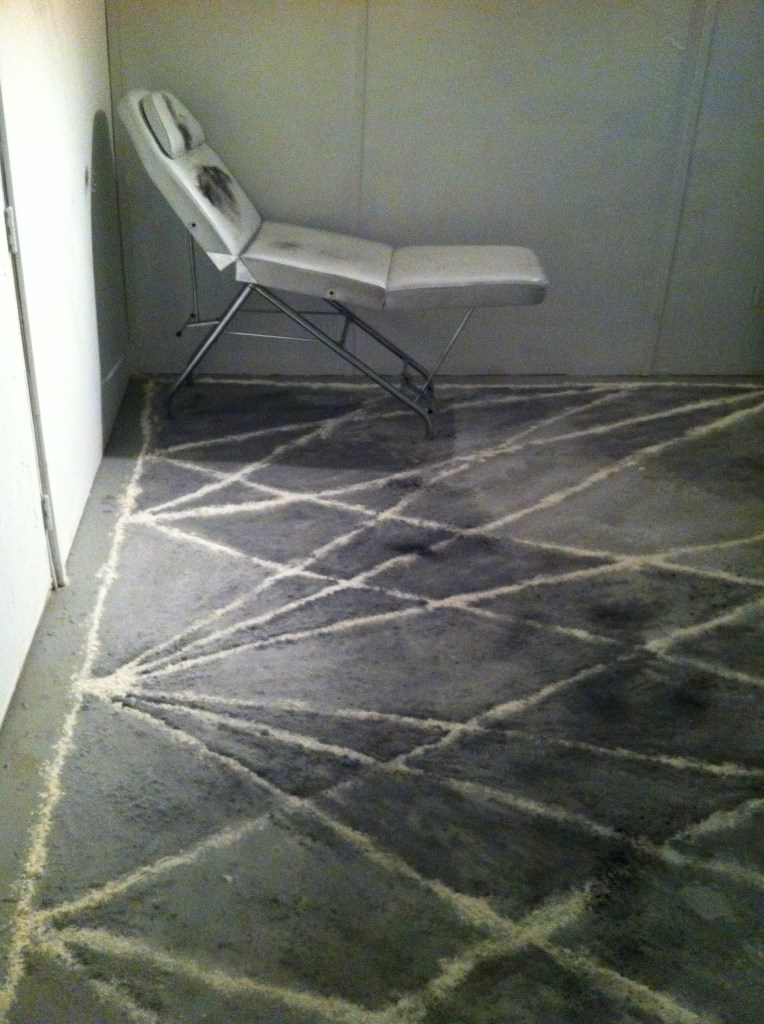 Title: Self Hypnosis Floor Drawing (Side View) Materials: Flour, Graphite Powder on Concreate.